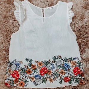 White and floral blouse